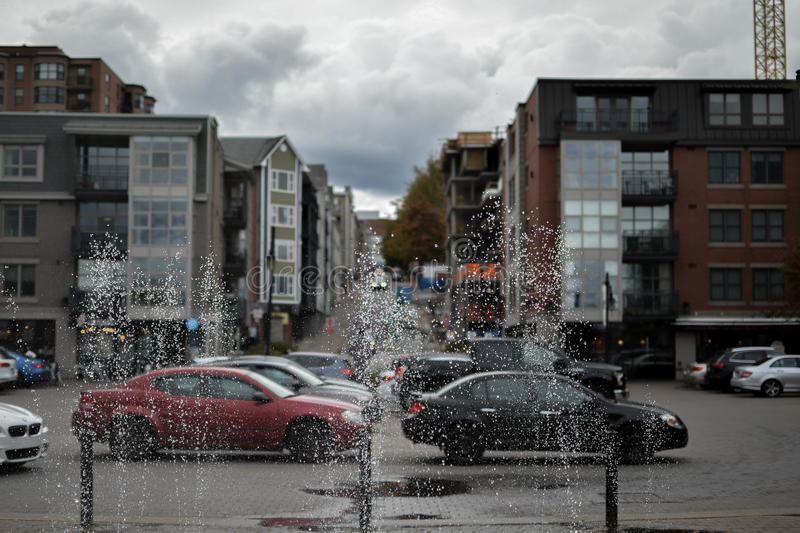 Splashes on the city stock photography