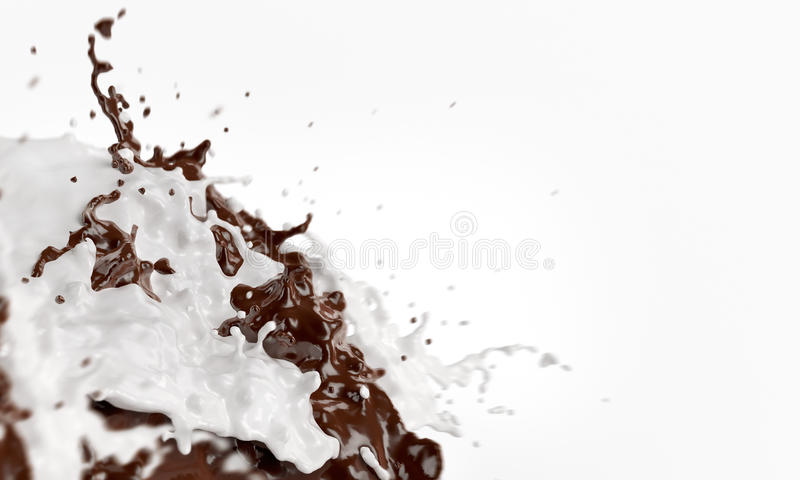 Splashes of joining chocolate and milk liquids. With scattering spray raster. 3d rendered abstract mixing fluids. Chokolate milky shake hodge-podge cacao vector illustration