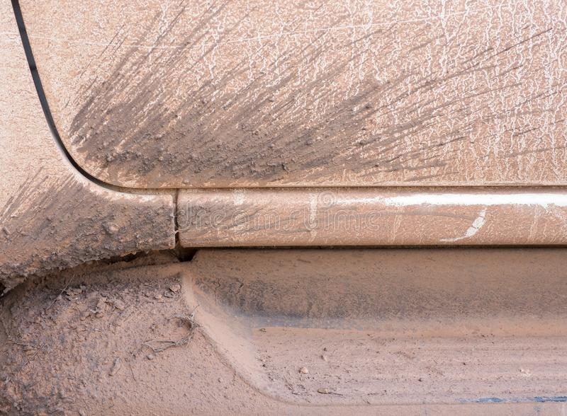 Splashes of mud on white car. Texture background. stock images