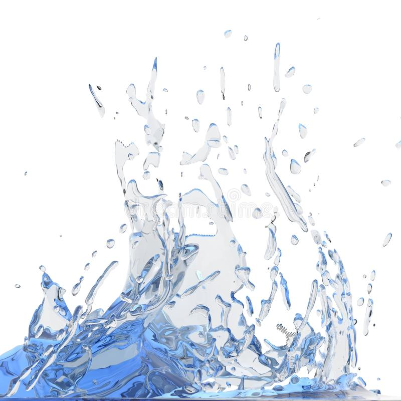 Splashing blue sparkling pure water. Abstract nature background royalty free stock photography