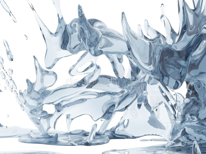Splashing blue sparkling pure water. Abstract nature background stock photo