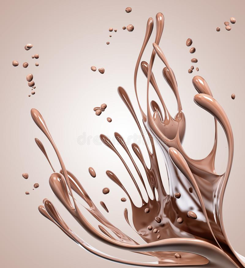 Splashing chocolate abstract background, 3d rendering. Splashing chocolate abstract background, isolated 3d rendering royalty free illustration