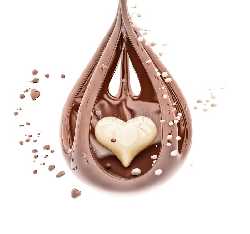 Splashing chocolate heart abstract background, isolated 3d rendering vector illustration
