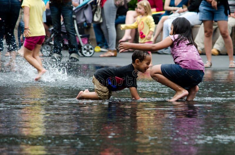 Splashing at crown fountains royalty free stock photo