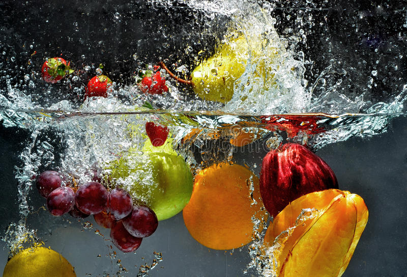 Splashing Fresh fruit 01 royalty free stock photo