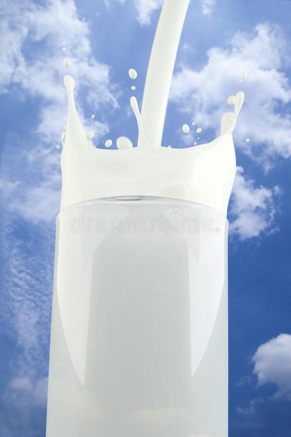 Free Splashing Milk In A Glass With Sky Background Royalty Free Stock Photo - 19053205