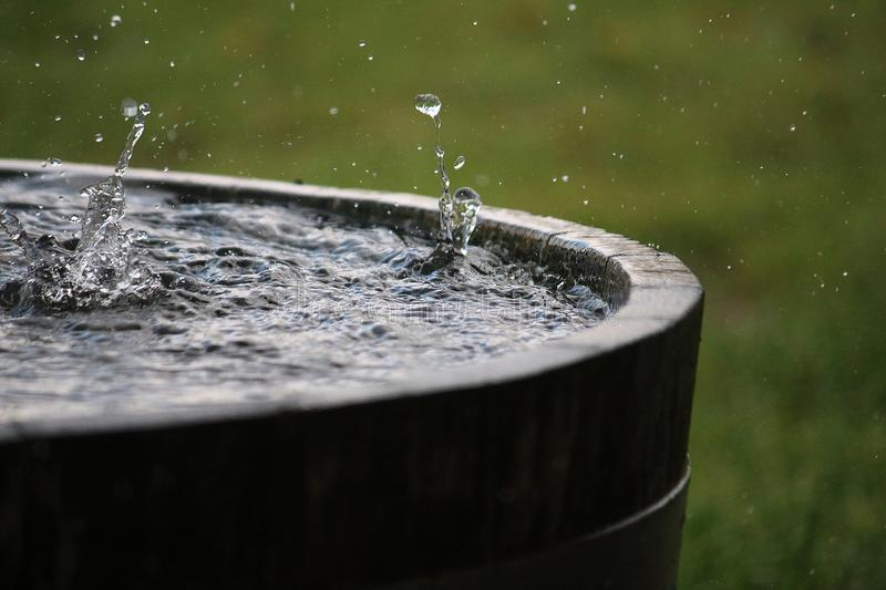 Rain is falling in a wooden barrel full of water in the garden. Splashing rain in a barrel full of water stock photo
