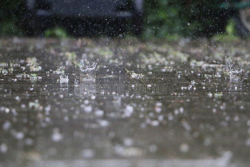 Close Up Of Falling And Splashing Rain On The Street Stock Image Image Of Gray Wave 154395987