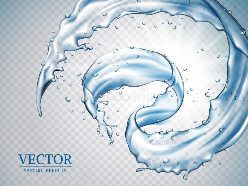 Splashing water effects stock illustration