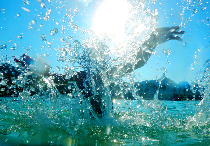 Splashing in water royalty free stock photography