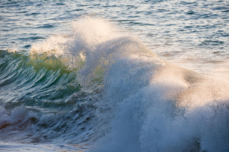 Splashing Waves. In the sea stock images