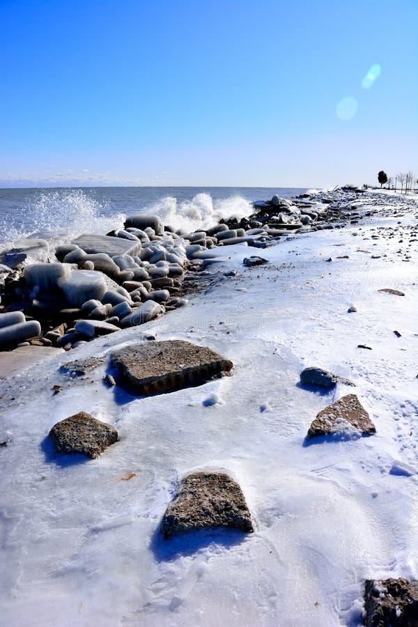 Free Splashing Waves Cause Beautiful Ice Formations Royalty Free Stock Photo - 164385285
