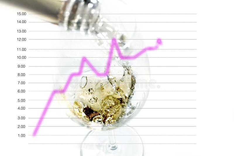 Splashing wine pouring into blurry glass, isolated with a line diagram with the concept of the effect of alcoholic beverages on. Splashing wine pouring into royalty free stock image