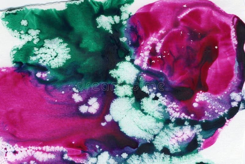 水彩splat、桃红色和绿色 图库摄影
