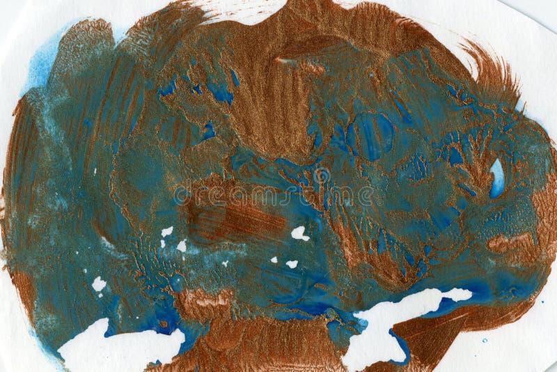 水彩splat、铜和蓝色 库存图片
