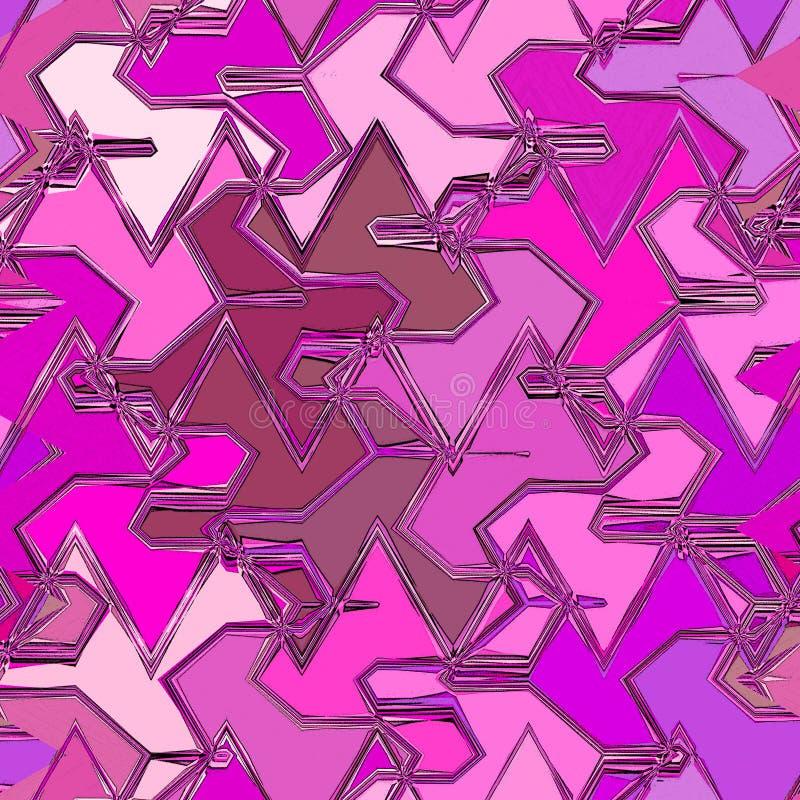 Splat mosaik i abstrakt tegelplatta i rosa och fuchsiafärger royaltyfri illustrationer