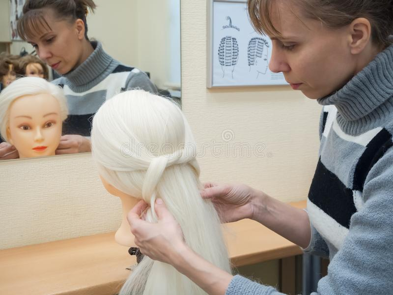 Splatać warkocze na mannequin Stażowy szamerowanie obraz stock