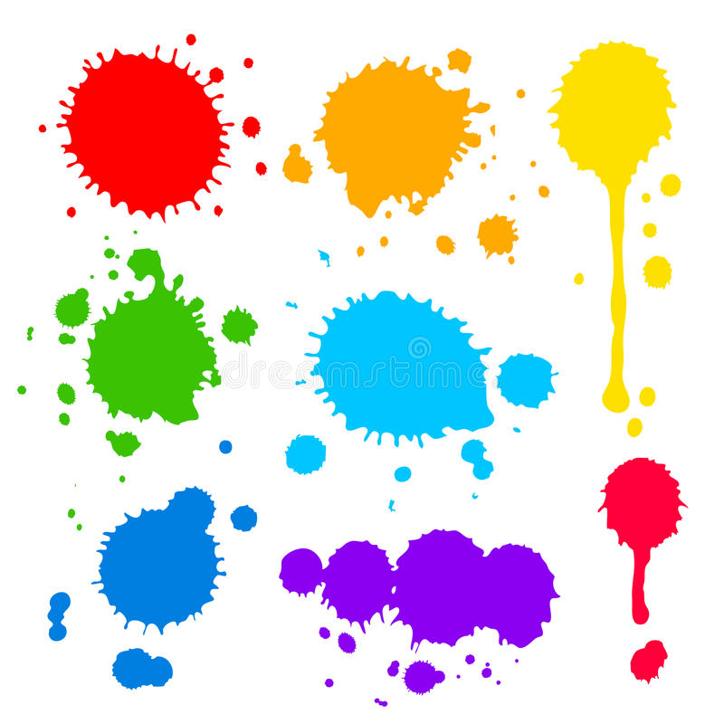 Splats and blobs of colored paint. Collection of splats splashes and blobs of brightly colored paint in a rainbow palette in different shapes with two having stock illustration