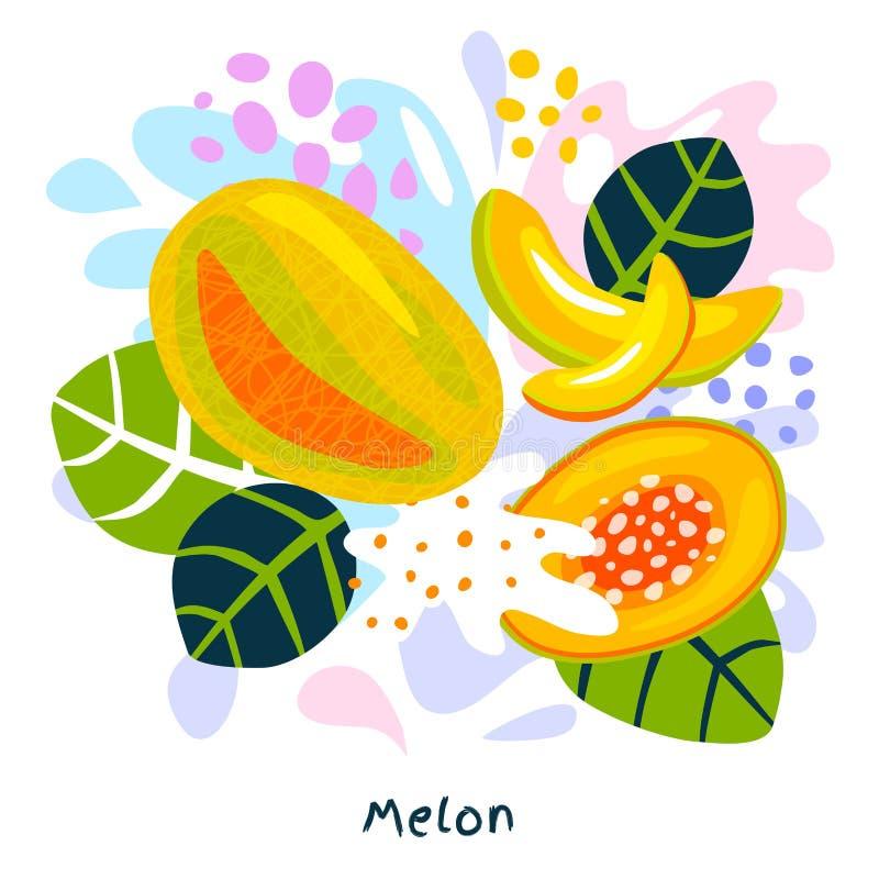 Splatter канталупы свежих зрелых натуральных продуктов выплеска фруктового сока дыни сочный на абстрактном векторе предпосылки иллюстрация вектора