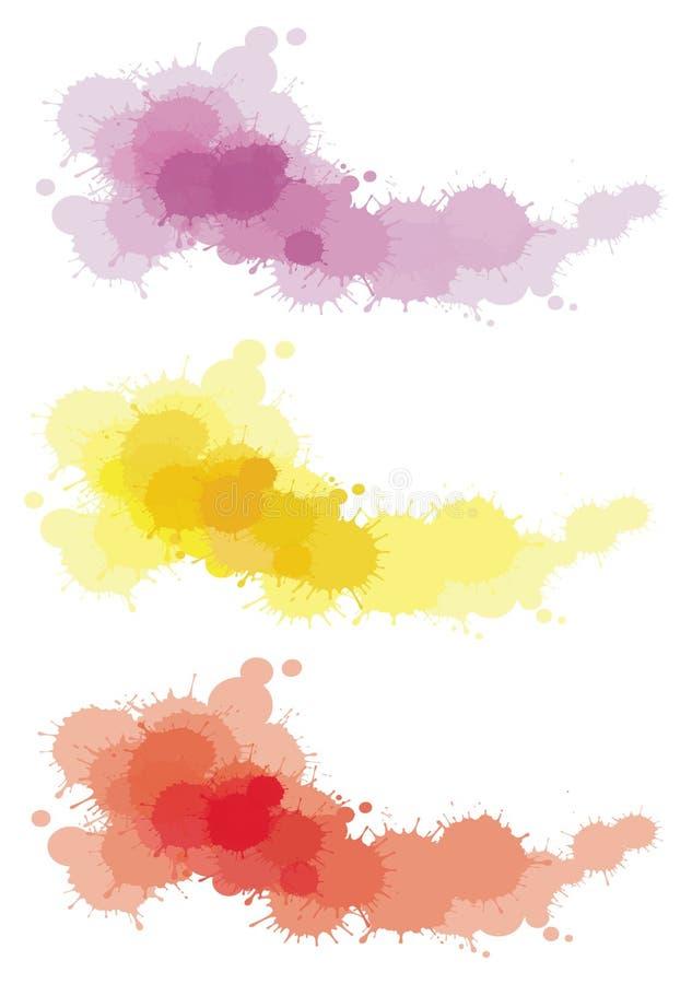splatter 3 färgar uppsättningen royaltyfri illustrationer