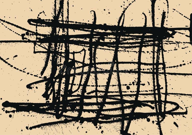 Splatter atramentu budowy Czarny tło ilustracja wektor