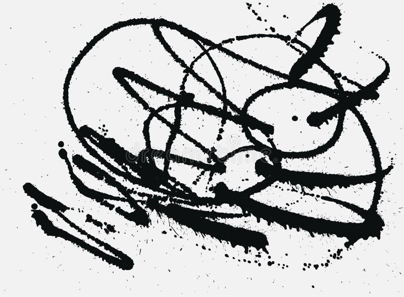 Splatter atramentu Czarny tło Ręka Rysujący kiść kleksy ilustracji