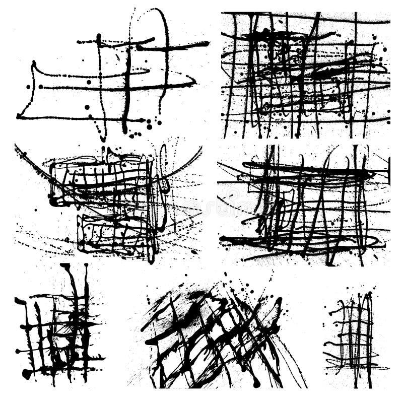 Splatter atramentu tła Czarny set Ręka Rysujący kiść kleksy i Sp ilustracja wektor