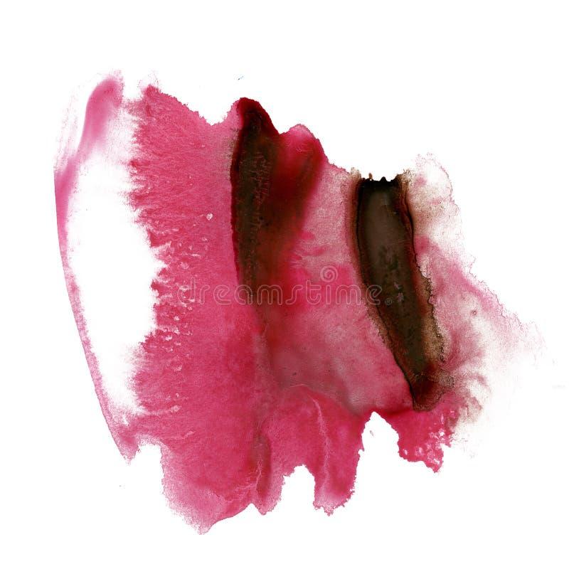 Splatter atramentu watercolour barwidła czerwonej ciekłej akwareli punktu blotch makro- tekstura odizolowywająca na białym tle obrazy stock