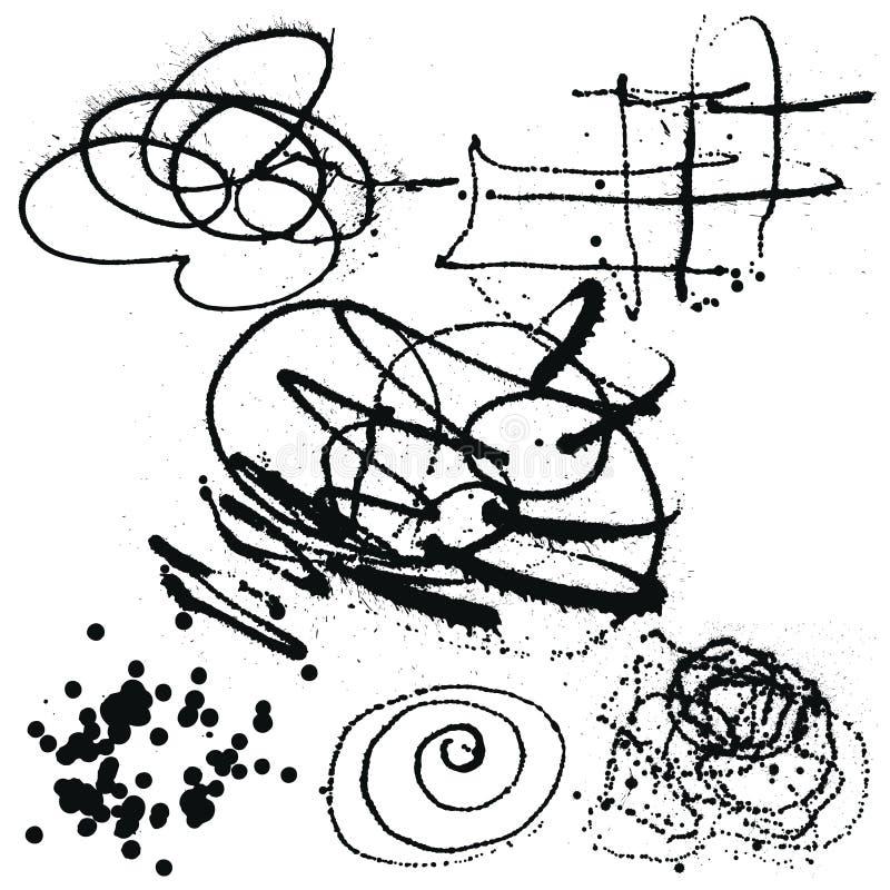 Splatter Black Ink Background collection set. Hand Drawn Spray B vector illustration