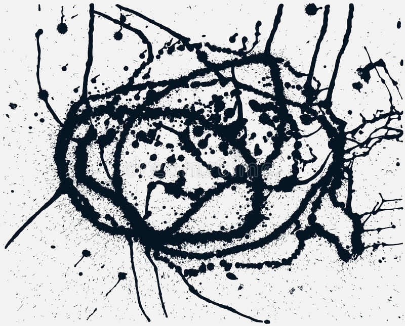 Splatter Black Ink Background. Hand Drawn Spray Blots royalty free illustration