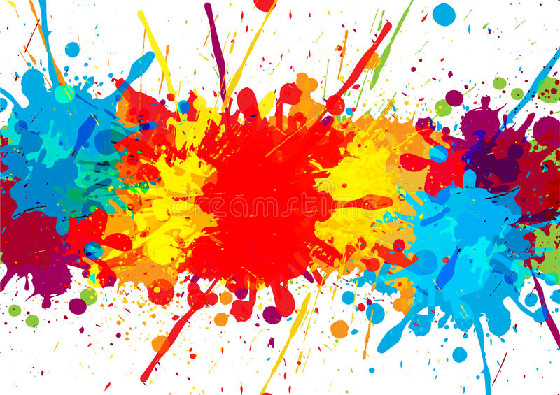 Splatter colorful with paint stains background, abstrac vector illustration