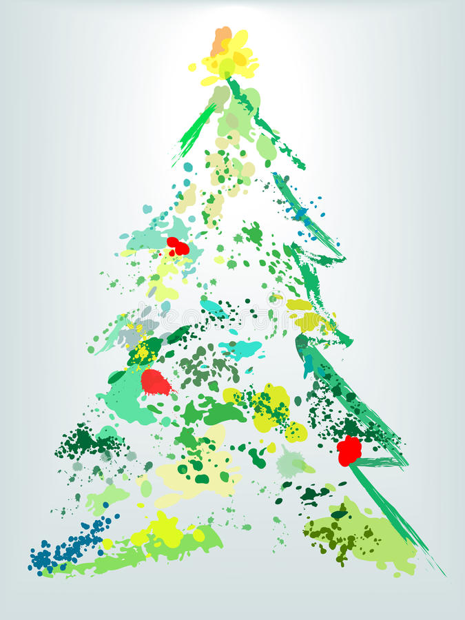 Splatter della vernice del grunge di festa dell'albero di Natale illustrazione di stock