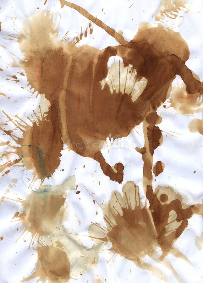 Splatter do Teabag no papel comum imagens de stock