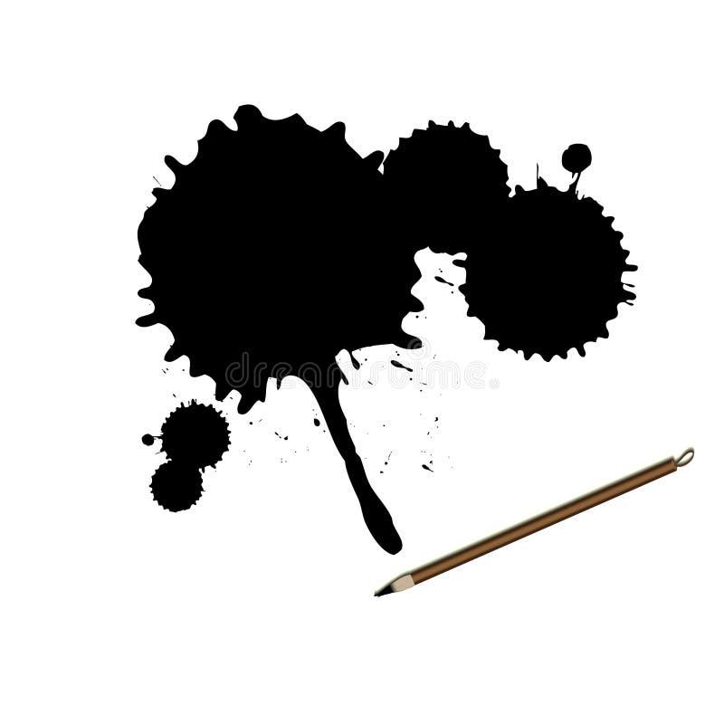 splatter för färgpulver för borstecalligraphy kinesisk stock illustrationer