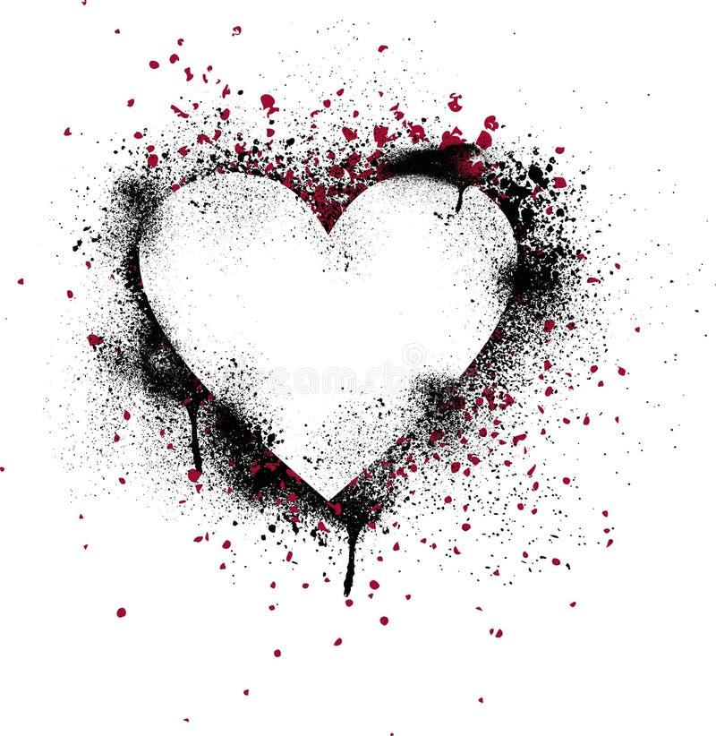 splatter för grungehjärtamålarfärg stock illustrationer
