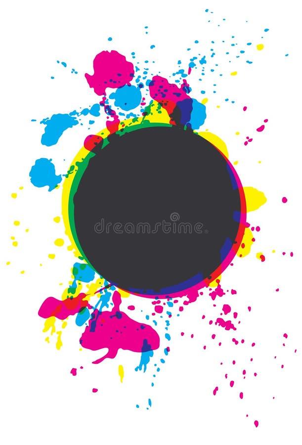 splatter för målarfärg för cirkelcmykgrunge royaltyfri illustrationer