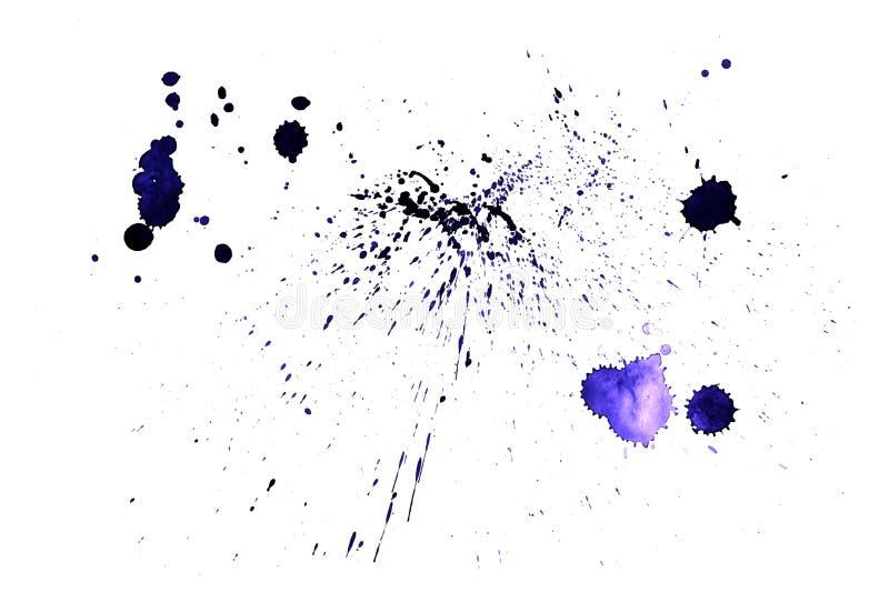 Splatter farby tekstura Cierpienia szorstki tło Fiołkowi akwareli kiści kleksy Abstrakcjonistyczny wektor ręka patroszona royalty ilustracja