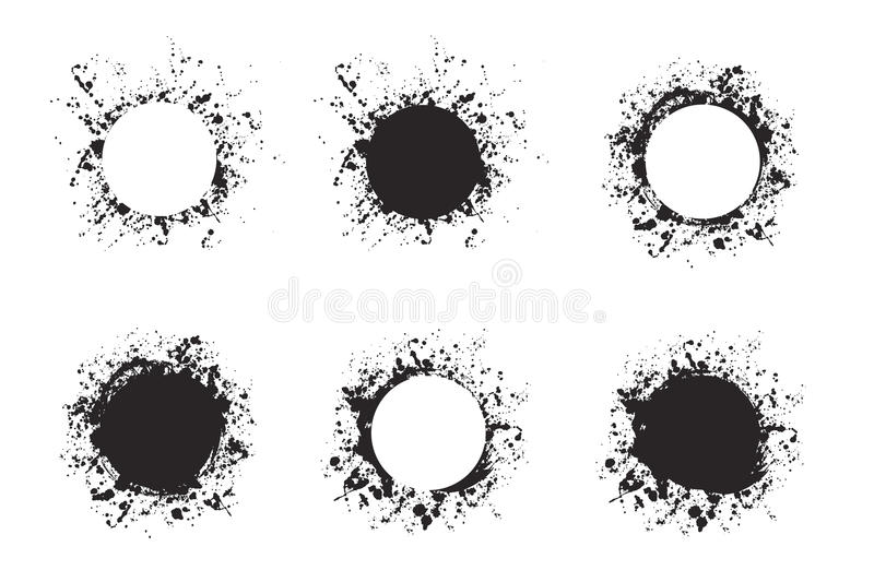 Splatter ink round frame backgrounds paints set with black splash on white. Grunge blots and drops. High quality manually traced vector illustration royalty free illustration