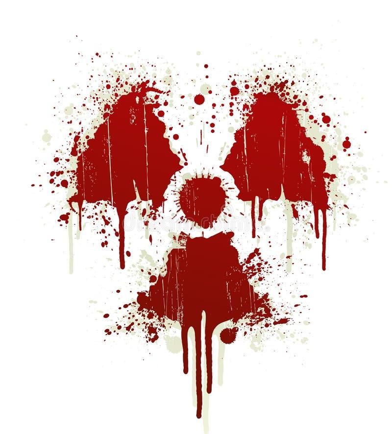 Splatter radioativo do sangue do símbolo ilustração do vetor