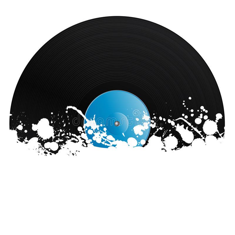 Splatter retro vinyl design element. Vector illustration of a vinyl record covered in ink splats. Grunge style with copy space royalty free illustration