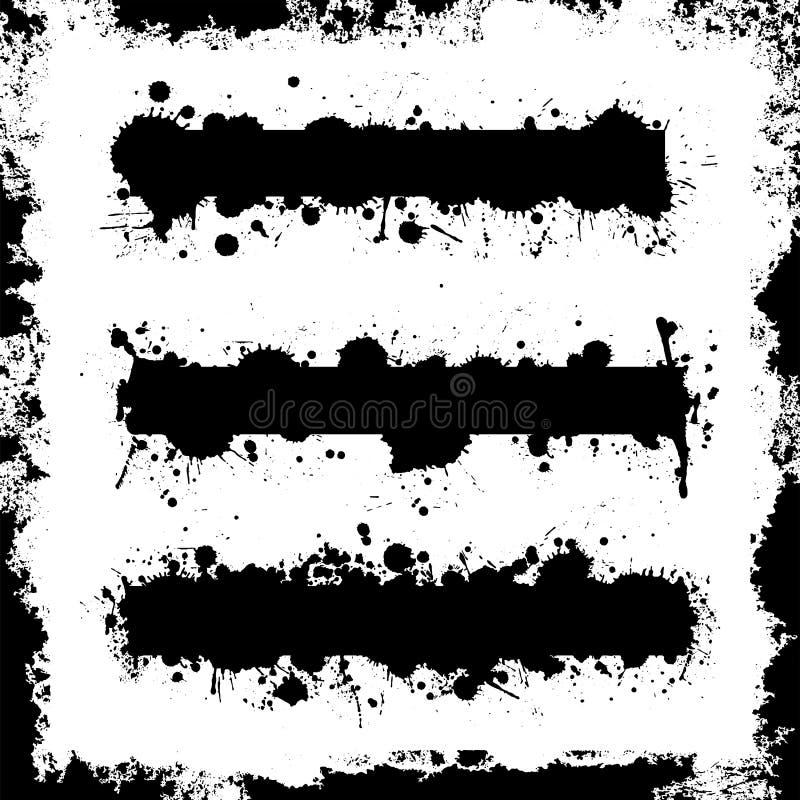 Splatter sztandar Ustawiający z Grunge granicy wektorami ilustracja wektor