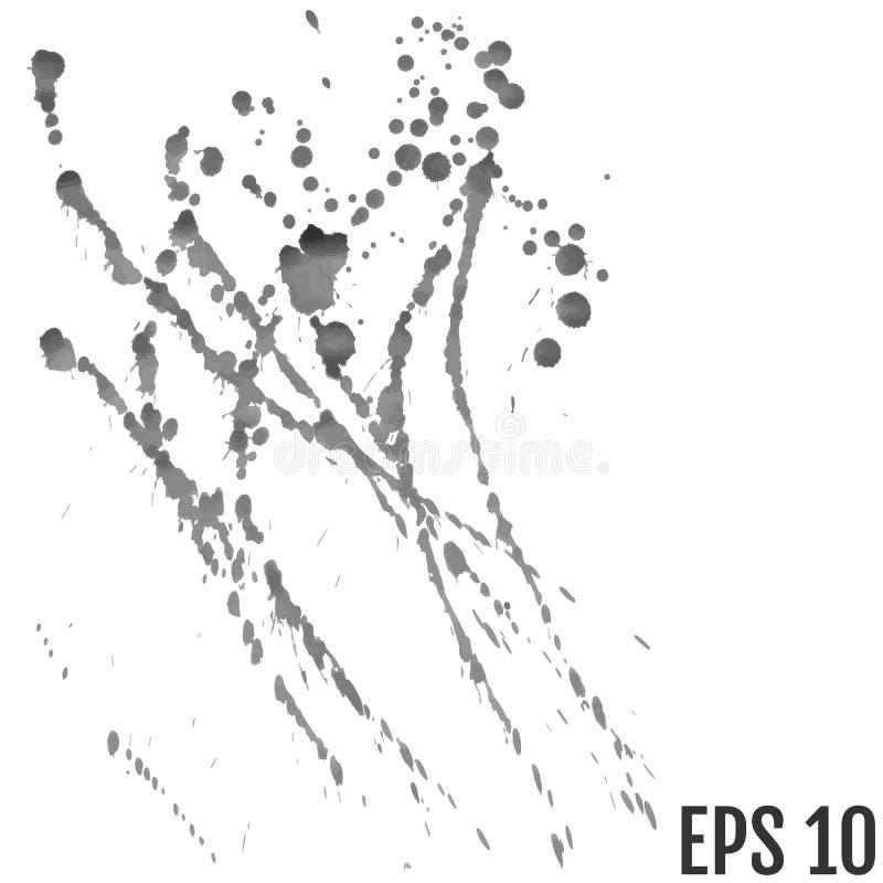 Splatter tło Popielaci kaligrafia atramentu splats Kiści farby dr ilustracji