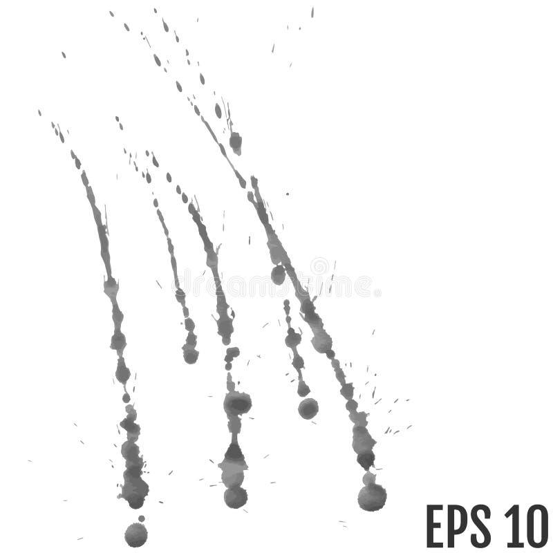 Splatter tło Popielaci kaligrafia atramentu splats Kiści farby krople grunge atramentu farby splats, zaplamiają i bryzgają Grunge ilustracja wektor