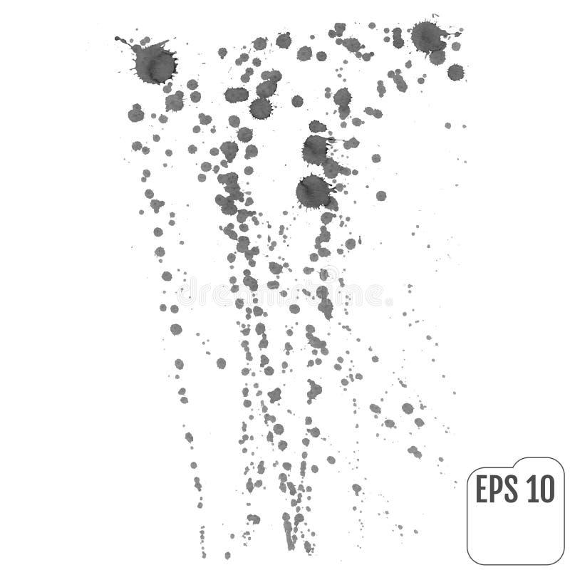 Splatter tło Szarzy kaligrafia atramentu splats Kiści farby dro ilustracja wektor