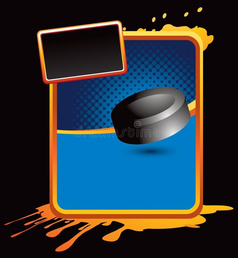 splattered шайба хоккея рекламы померанцовая иллюстрация штока