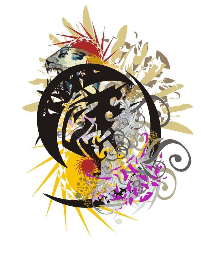 Splattered этнический символ головы орла иллюстрация вектора