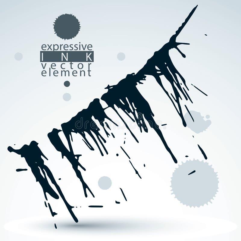 Splattered monochrome web design element, art ink blob, paintbrush drawing. Smudge graffiti background. stock illustration