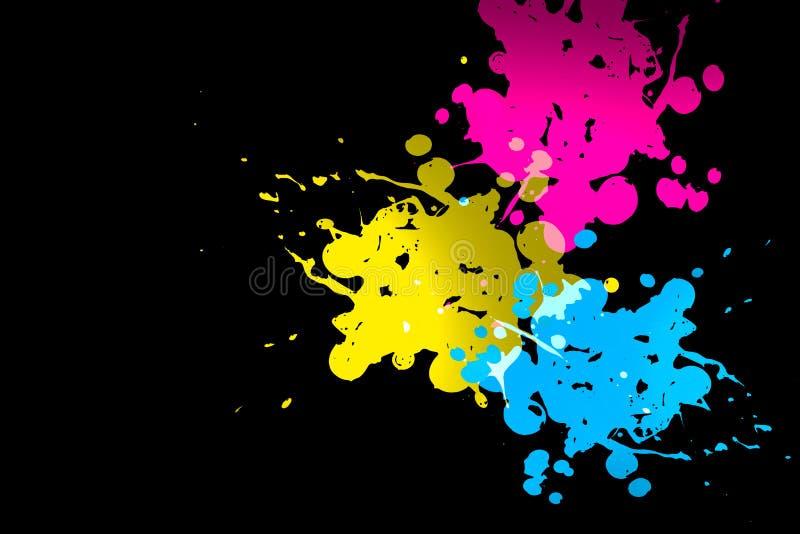 splatters цвета cmyk иллюстрация вектора