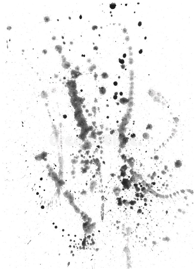 Splatters and blots on white paper. Watercolors stock illustration