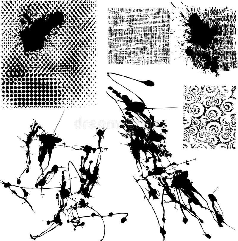 Splatters e outros elementos do grunge ilustração stock